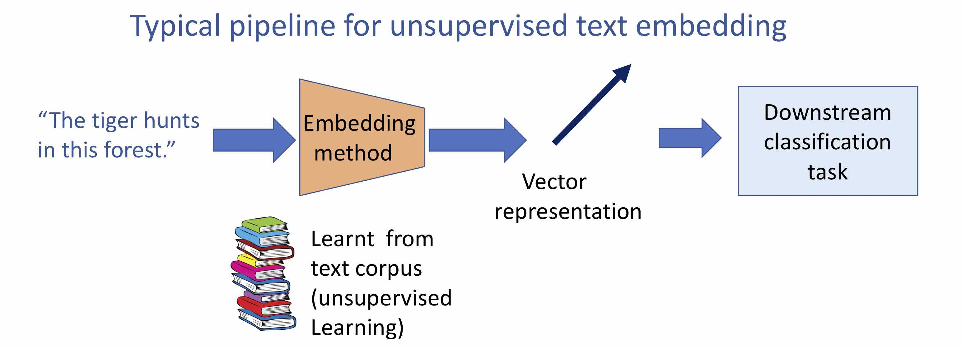 How are text embeddings used in downstream classification task.